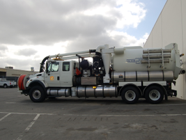 This vactor truck is one of three trucks used by the Sewer Division of the Water Utlities...