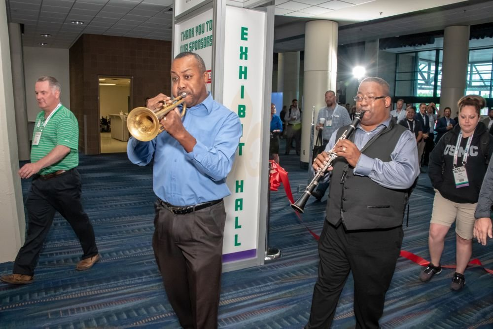 GFX attendees were led into the exhibit hall by a New-Orleans-style band.