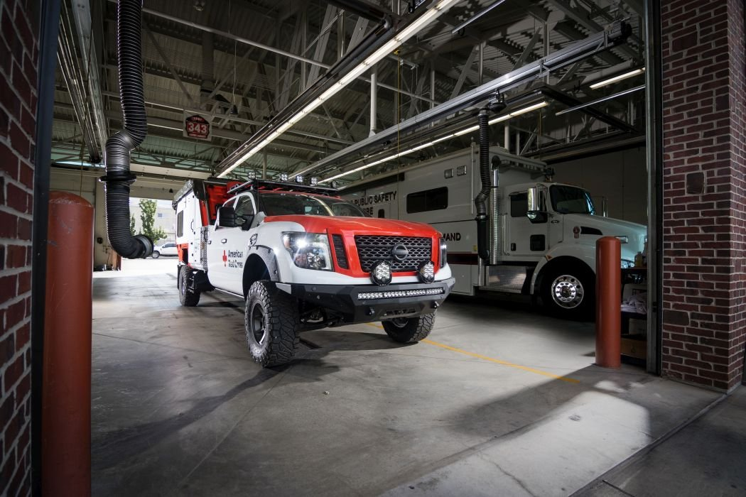 Nissan upfitted a 2018 Titan XD Diesel Midnight Edition Crew Cab for this mobile response unit.