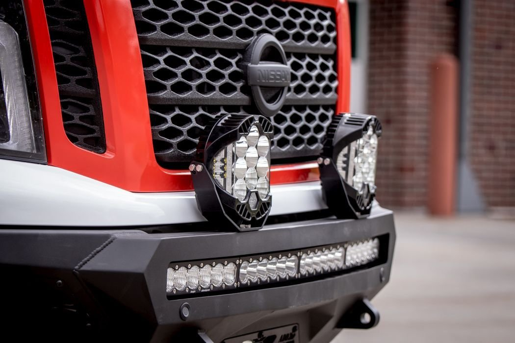 The truck is fitted with lights from Baja Designs.