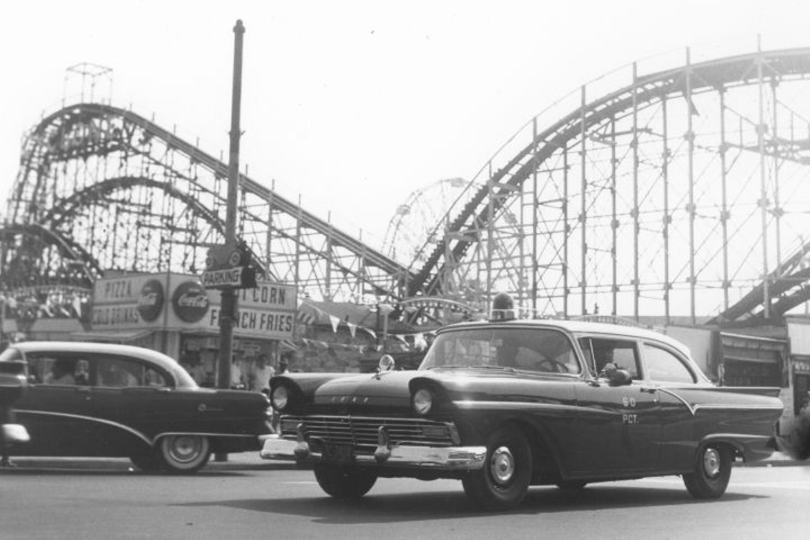 In the 1950s, the NYPD used the Ford RMP(Radio Motor Patrol). This photo shows one at Coney...