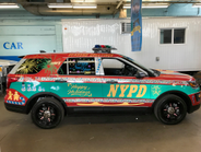 The holidays police car celebrates winter holidays, including Christmas and New Year.