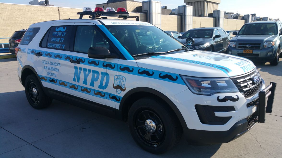 This police car celebrates Movember, which takesplace in November and raises awareness for...