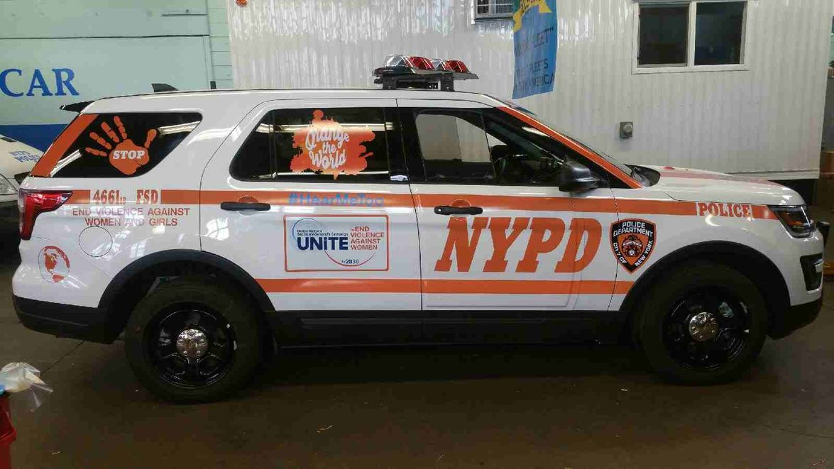 This police car celebrates Orange Day, designated the 25th of every month and amplifies the...