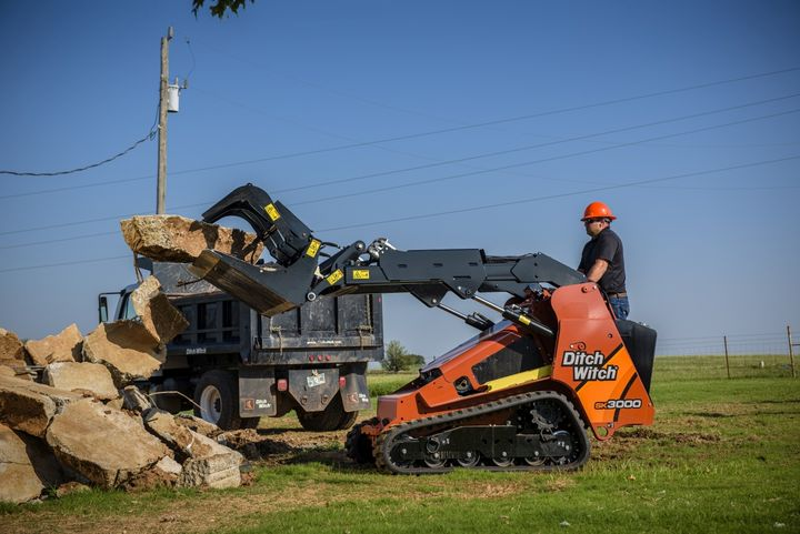 The Ditch Witch SK3000 skid-steer is the most powerful stand-on skid steer in its class. It has a lift capacity of 3,100 lbs.  can direct up to 51 hp to attachments.