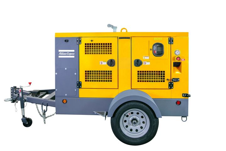 The Atlas Copco high-flow pumps come with a road certified trailer and sound proof enclosure. - Photo courtesy of Atlas Copco