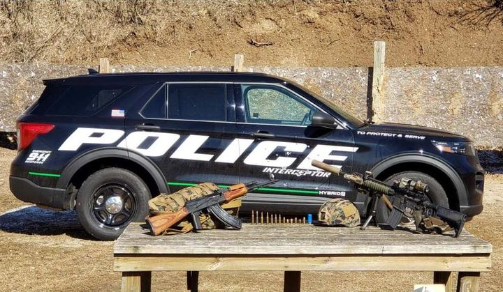 The PD panel converts an ordinary police vehicle door into an always-ready protective shield. -