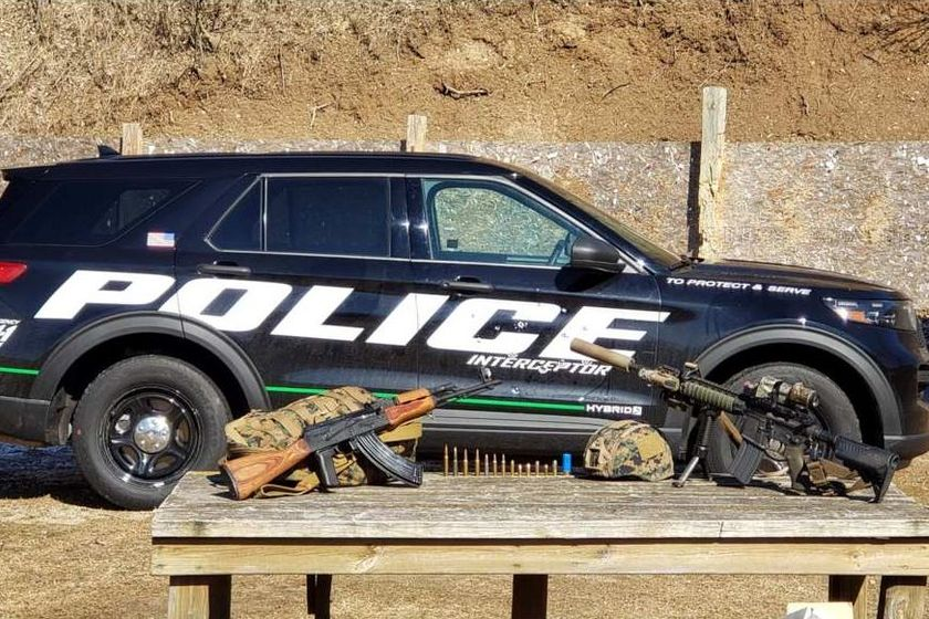 The PD panel converts an ordinary police vehicle door into an always-ready protective shield.
