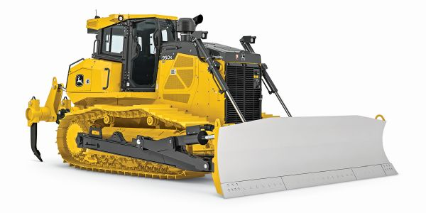 John Deere's mechanical angle blade for the 950K and 1050K crawler dozers can be manually angled...