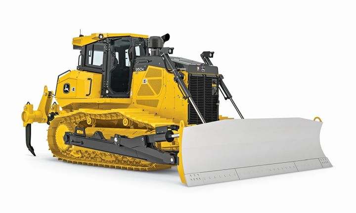 John Deere's mechanical angle blade for the 950K and 1050K crawler dozers can be manually angled side to side. - Photo courtesy of John Deere