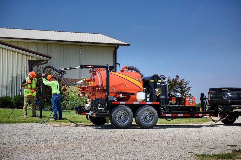 The Ditch Witch HX30G vacuum excavatoris powered by a 31-hp Vanguard gas engine.