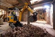 The JCB19C-1E electric mini excvator can complete a typical day's work on a single charge.