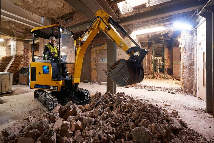 The JCB19C-1E electric mini excvator can complete a typical day's work on a single charge. - Photo courtesy of JCB