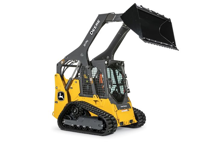 John Deere's upgradedsmall-frame G-Series skid steers and compact track loaders feature anupgraded cab formore comfort. - Photo courtesy of John Deere