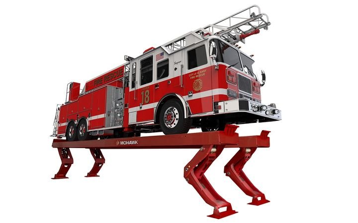 The Vertical Rise Lift can be used on heavy-duty vehicles, including buses, refuse trucks, and fire engines. - Photo courtesy of Mohawk Lifts