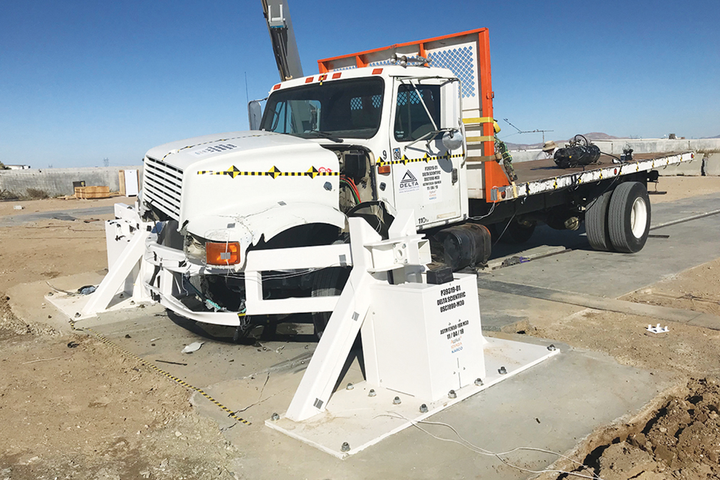 Delta Scientific's new bolt-down DSC7090 beam barricade is designed to stop a 15,000-lb. truck going 30 mph with negative 6.3 feet of penetration. - Photo courtesy of Delta Scientific