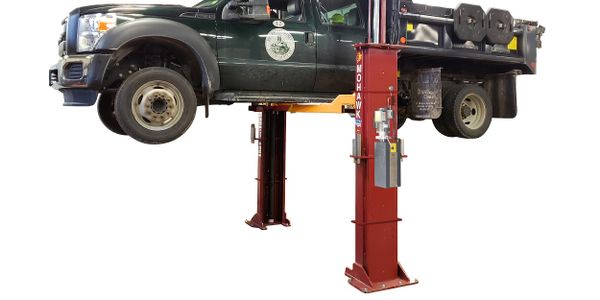 The ML-220 two-post lift features a 20,000-lb. capacity.