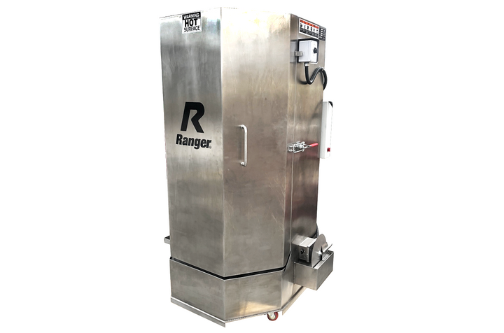 The Ranger RS-500DS wash cabinet can degrease a full range of vehicle parts, from nuts and bolts to larger truck engine components. - Photo courtesy of Bendpak