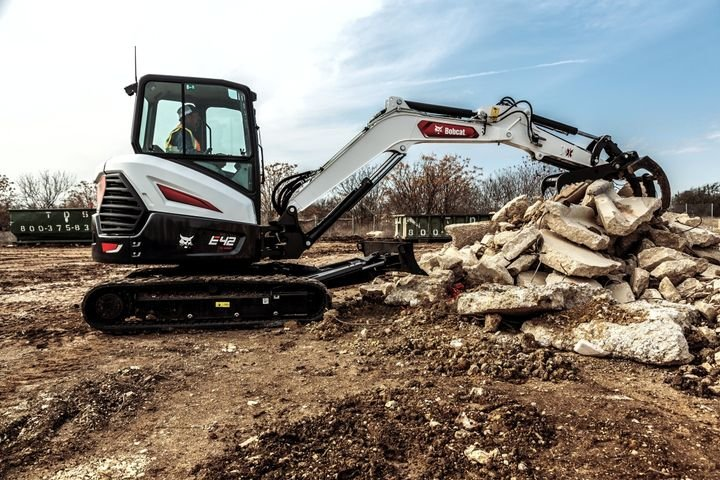 New Bobcat R2-Series E42 and E50 excavators feature improved low-effort joysticks that respond easily to operator input. - Photo courtesy of Bobcat