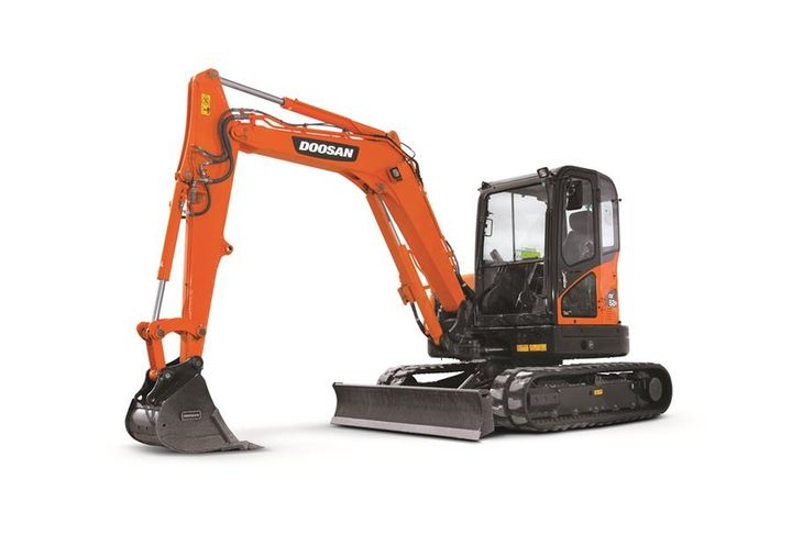 The mini excavator features a reduced tail swing profile — 4.9 inches of side overhang. - Photo courtesy of Doosan