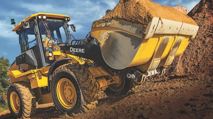The L-Series Wheel Loadersincorporate several improvements to boost performance and productivity, including a redesigned Z-Bar loader linkage and an updated, ergonomically designed cab. -