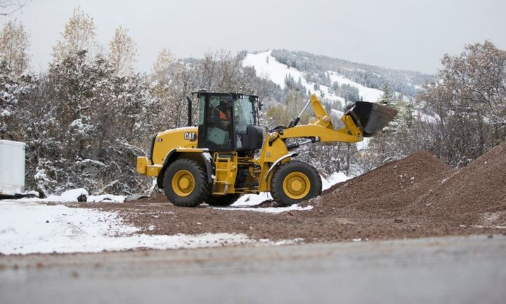 The Cat 914 compact wheel loader features a Cat C3.6 engine delivering 111 hp. - Photo: Caterpillar