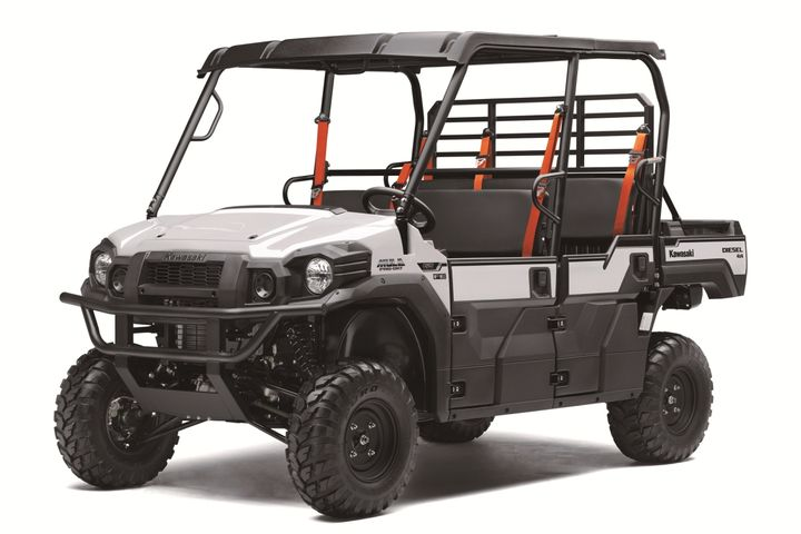 The 2021 Mule Pro-DXT EPS FE features Kawasaki's Trans Cab system that quickly transforms the six-person, two-row cab to a single row, three-passenger machine. - Photo: Kawasaki