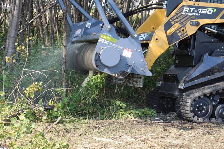 The attachment is ideal for improving productivity in forestry mulching, land clearing, trail development, and right-of-way work. - Photo: ASV/Loftness