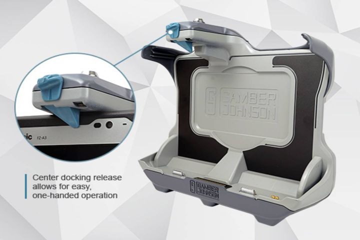 The docking station is compatible with Toughbook A3 accessories and designed for a rugged mobile work environment. - Photo: Gamber-Johnson