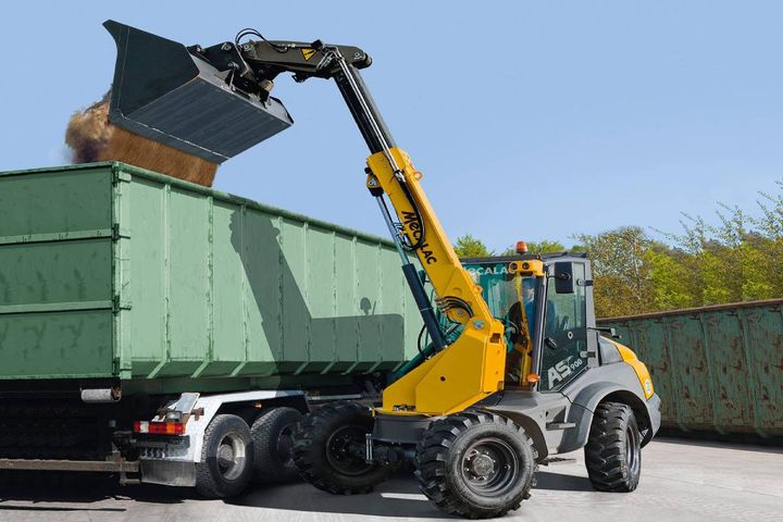 The new machine combines the compactness and mobility of Mecalac's AS Swing Loader Series with telescopic technology to provide versatility on the jobsite. - Photo: Mecalac