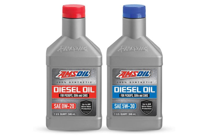 Available in 0W-20 and 5W-30 viscosities, AMSOIL's new 100% synthetic diesel oil provides protection and performance. - Photo: AMSOIL