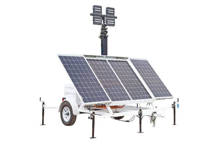 These solar generators with light towers can power equipment and illuminate remote areas. - Photo: Larson Electronics