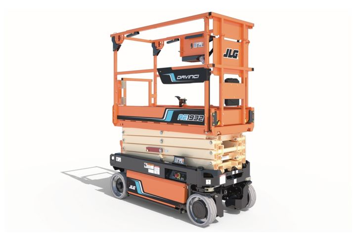 The JLG DaVinci AE1932 All-Electric Scissor Lift requires less energy consumption, allowingfor the use of a single lithium-ion battery. - Photo: JLG