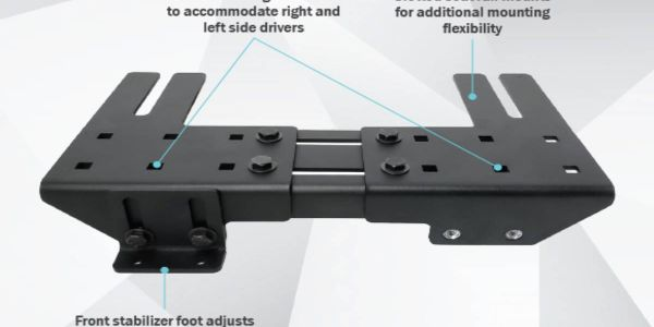 The design features a front stabilizer foot with vertical adjustment, ensuring a secure fit...