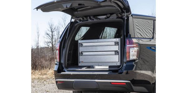 The CopBox Cabinet tactical trunk storage solution for the 2021 Chevy Tahoe PPV features...