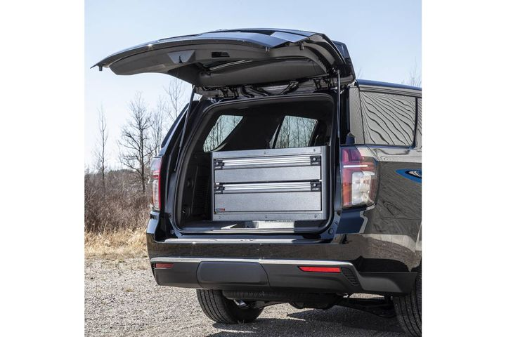 The CopBox Cabinet tactical trunk storage solution for the 2021 Chevy Tahoe PPV features MotionLatch full-length dual-latching drawers and cabinet doors. - Photo: CTech