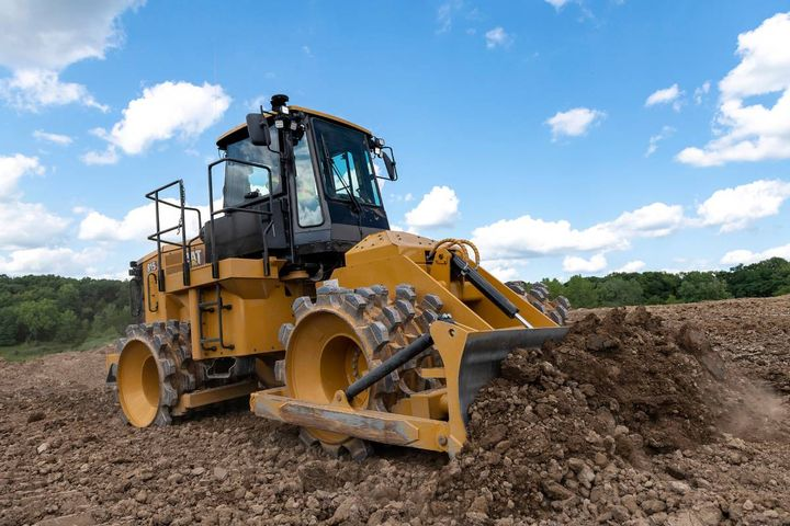 With this new Soil Compactor, GPS mapping is provided, so fewer passes means less fuel and more productivity. - Photo: Cat