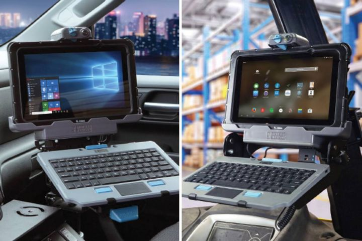The Slim docking stations and cradles are designed to preserve vehicle cabin space and support the ET5X rugged enterprise tablet without tablet accessories like the expansion back with hand strap. - Photo: Gamber-Johnson