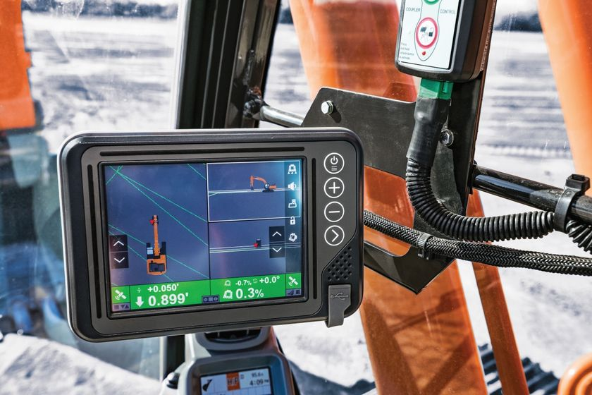 With Hitachi's grade control technology, the machine controls the boom and bucket as the...