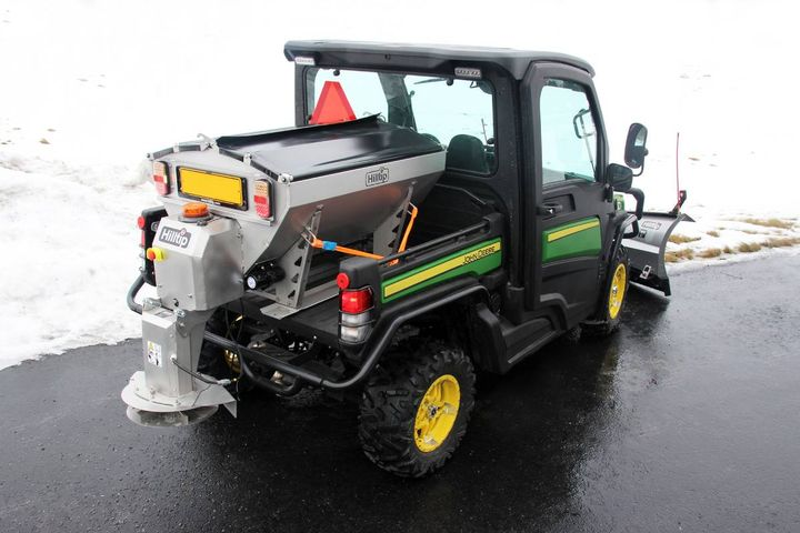 Hilltip, a road maintenance equipment manufacturer in Europe, is bringing its IceStriker™ technology to smaller vehicles for salt and sand spreading in parking lots, courtyards, walkways, pedestrian paths and more. - Photo: Hilltip