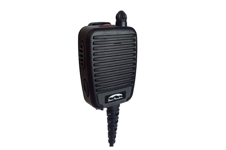 The remote speaker microphone allows users to directly change channels or talk groups and control volume. - Photo: Sonim