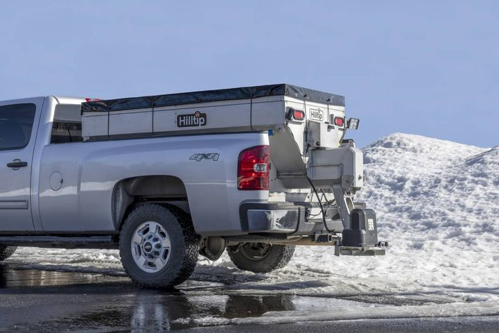 Powered by either 12- or 24-volt dual motors, the IceStriker 2000-3300 SSA/SSC salt spreader line includes three models with capacities of 2.0, 2.65, and 3.3 cubic yards. - Photo: Hilltip