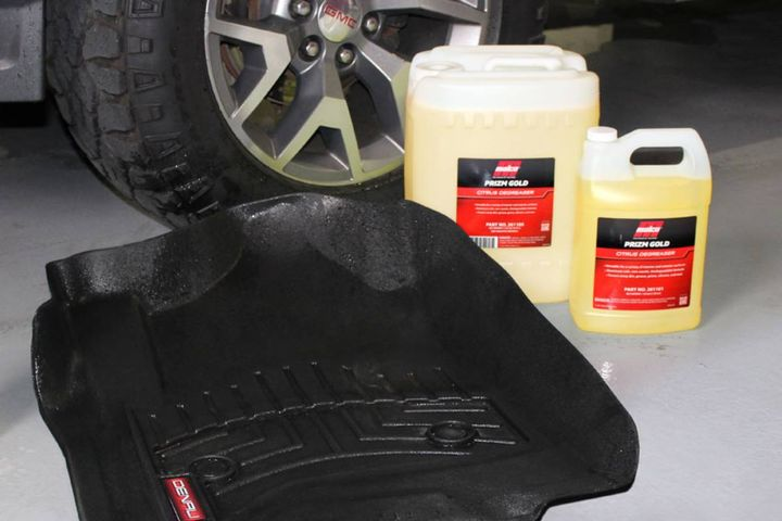 Prizm Gold citrus degreaser is a versatile dlimonene based cleaning agent that removes dirt, grease, and grime from hard and soft surfaces and is aluminum safe. - Photo:Malco Automotive