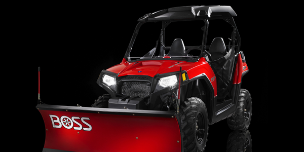 The Mid-Size UTV plow blade skin is made from tough, rust-resistant poly.Photo courtesy of Boss