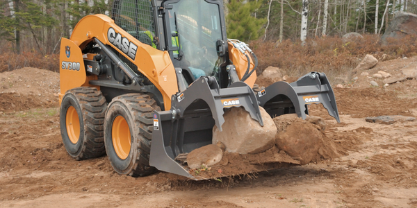 Case SV300 with grapple bucket