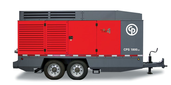 The CPS 1800 JD8 T4F is a twin single-stage, oil-injected, rotary screw type portable compressor.
