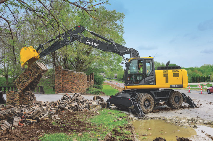 The 190G W is a versatile excavator from John Deere, designed to dig like a tracked excavator while also being mobile.