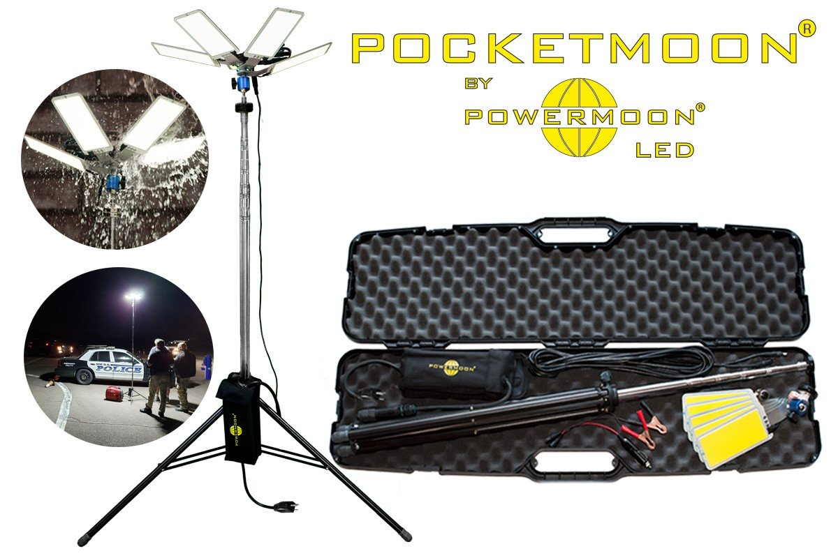 The Pocketmooncomes with a stainless steel tripod with total height of 11.5 feet.  - Photo courtesy of Powermoon Enterprises