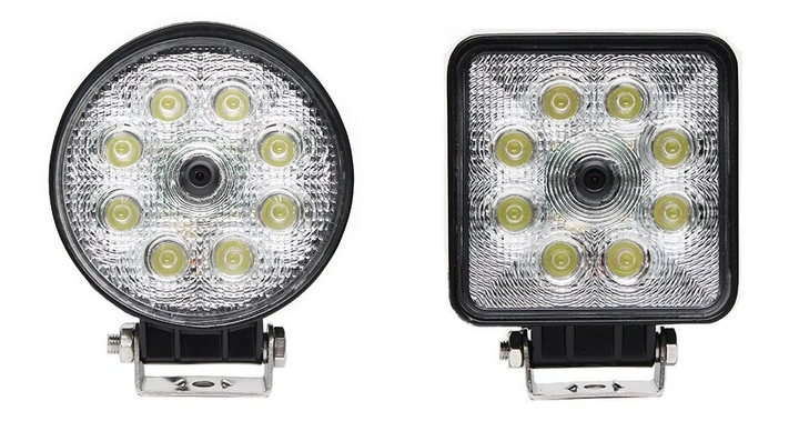 The flood lights are available in circle and square models and equipped with camera systems.