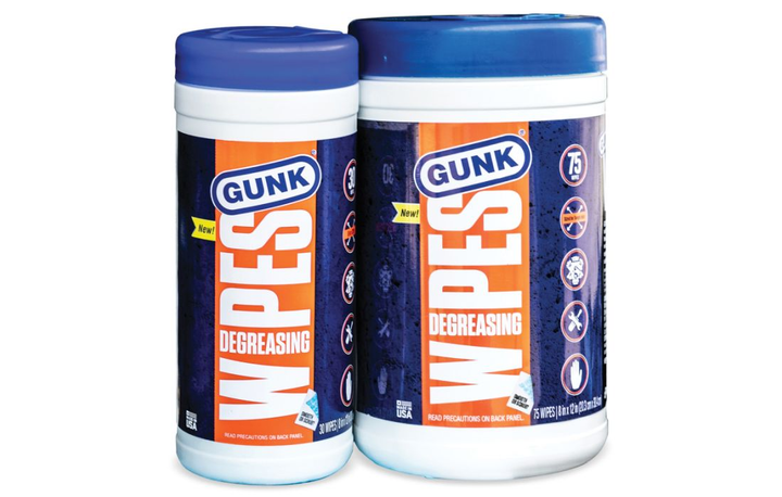 Gunk Degreasing Wipes are sold in 30-count packs and 75-count packs.  - Photo courtesy of Gunk